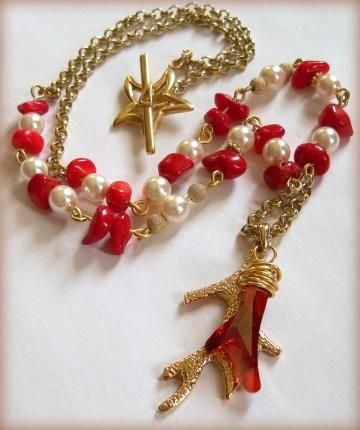 Coral and Pearl Necklace by DancingRainbows for $55.00 #ssps #zibbet
