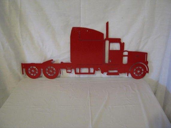 Rouge Semi camion paroi métallique Yard Art par cabinhollow sur Etsy