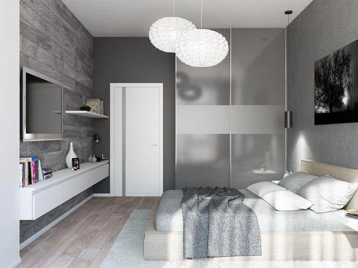 Спальня в мужском стиле. Минимализм и спокойная гамма.
