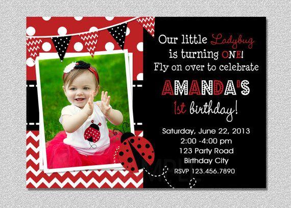 Unique Ladybug Invitations Ideas On Pinterest DIY Ladybug - 1st birthday invitation template girl