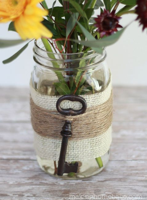 Cute sister gift or decoration for a kappa event! Mason jar - white burlap, jute twine, vintage key, spring flowers