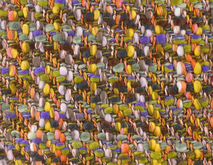 Sample of woven women's fashion fabric entitled Festival, double cloth twill fabric, woven in multiply wool slub yarns (face of sample) and polyester and worsted yarns (back of sample), in purple, grey, yellow, green, blue, orange, pink and brown, also known as wool tweed, part of a group of samples compiled by Bernat Klein for his own records: British, Galashiels, Bernat Klein, c. 1963 - 1967