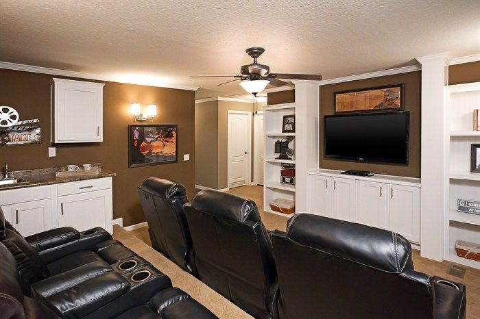 Every man dreams of a home theater. The Lloyd offers the perfect floor plan to accomodate this Man Cave must-have!  THE LLOYD • 74DYN32723AH • 2160 sq.ft • 3 Beds • 2 Baths
