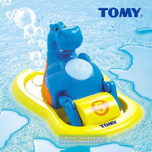 """This hilarious bath toy from Tomy makes bath time extra fun. Pop Hippo Pedalo into the bath and watch him merrily row himself around while singing """"O Sole Mio"""" and pumping out bubbles from the back of his pedalo!"""