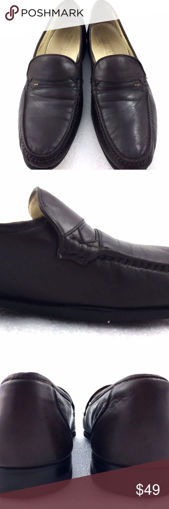 "Bally Leather Loafers 12D Mens Shoe Parawet Line For sale is a pair of loafers from Bally. The leather is very soft and supple. The right shoe has a scuff on the right side of shoe. The left shoe has a gap between the shoe in the sole and upper leather shown in the second picture. There are creases on the toes and vamp. These are vintage and there are wear on the insoles. The bottom soles has rubber sole protection attached.   Size: 12D Length: 12.25"" from back of heel to front of toe…"