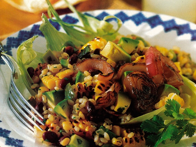 Grilled corn salad with black beans and rice: Beans Rice, Grilled Corn Salad, Black Beans Salad, Food, Corn Salads, Rice Recipe, Healthy Recipe, Favorite Recipe, Black Bean Salads