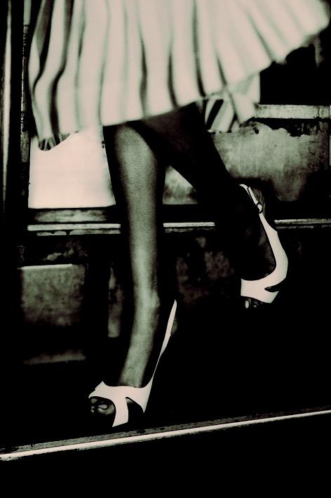 High heels and plisse skirt. Summer 2007.