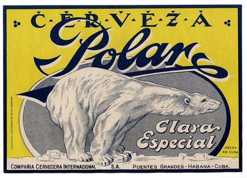 1950s Cuba Cerveza Polar Beer Bottle Label