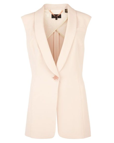 Sleeveless crepe smart blazer - Baby Pink | Tailoring | Ted Baker