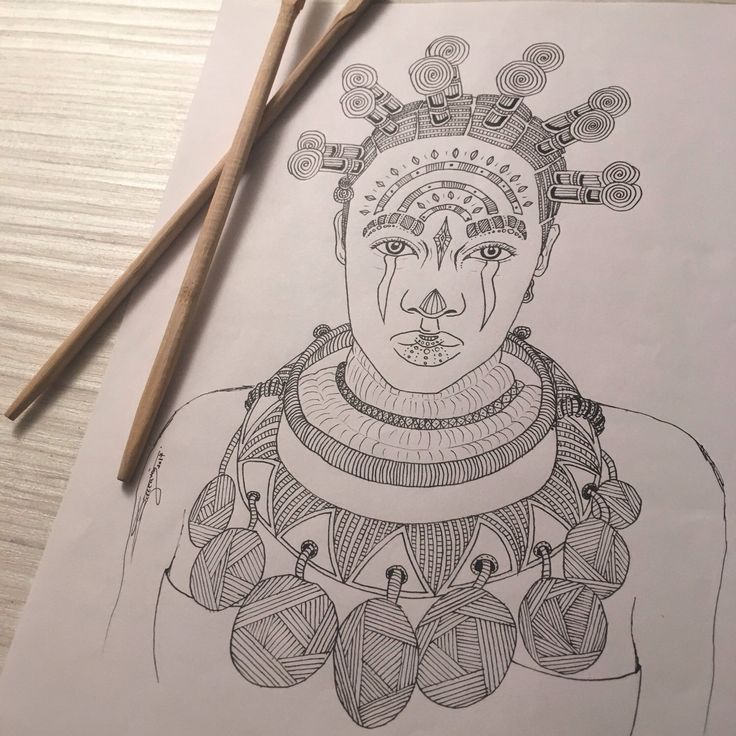 My drawing, Tribal 010, portrait of a tribal girl. You like this picture ?