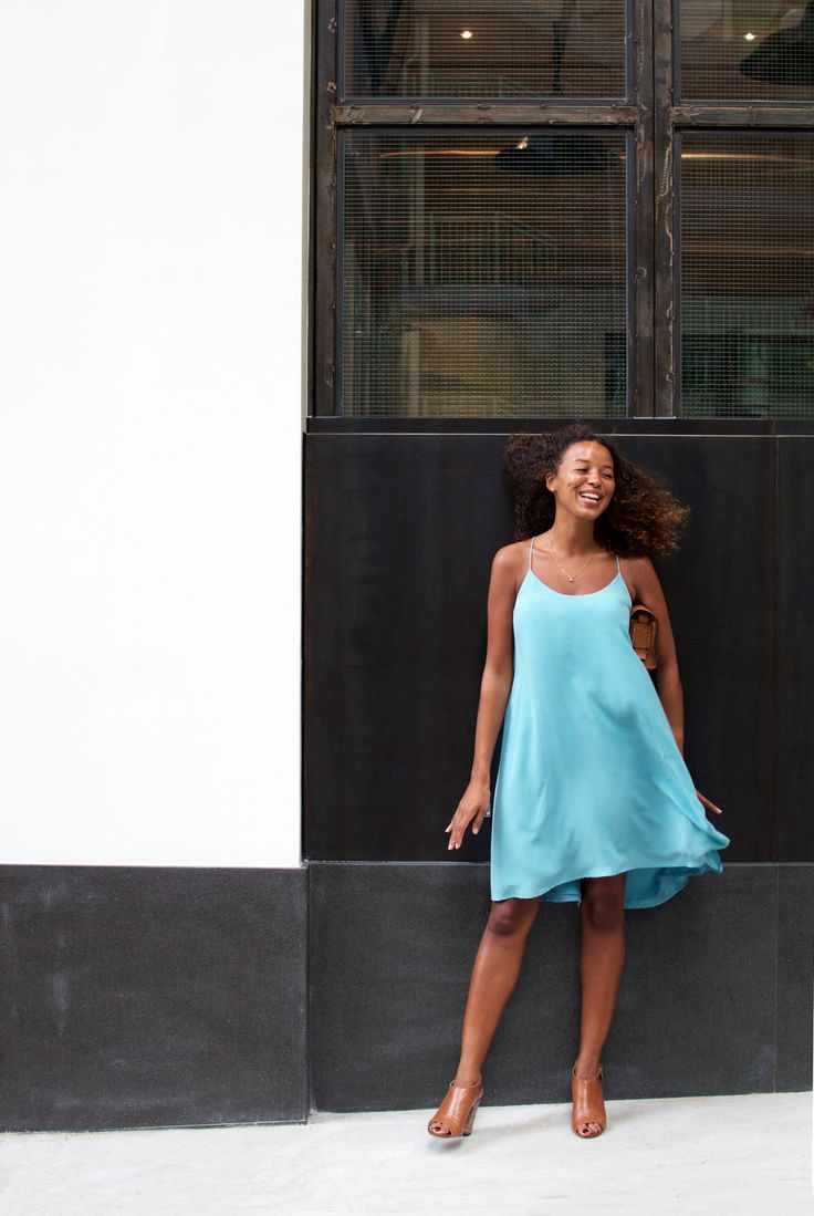 The simplest, most classic dress your capsule wardrobe needs. A silk cami dress in a neautral or bright colour.