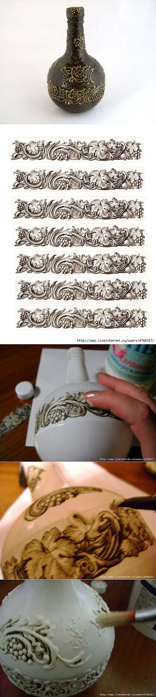 МК по рисование шпаклёвкой . | Декор бутылок | Постила