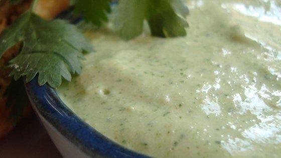 A spicy light green sauce fragrant with cilantro. Refreshing.