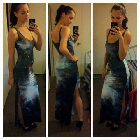 Black Galaxy split maxi dress