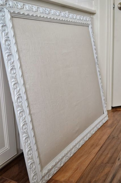 Painted frame linen over cork design board house for Linen cork board