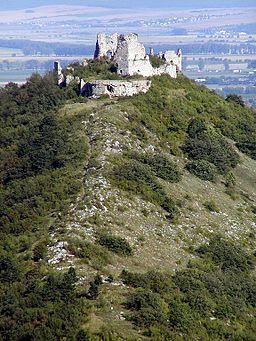 Turna Castle above the town of Turňa nad Bodvou, Slovakia.  Turňa nad Bodvou is a village and municipality in Košice-okolie District in the Kosice Region of eastern Slovakia.