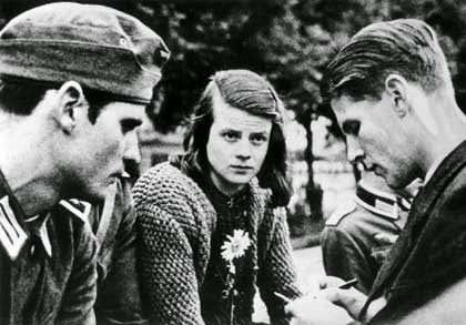 "Sophie Scholl (1921-1943) was part of the White Rose who resisted the Nazi regime. She was brought before the People's Court in Feb 21, 1943. Their judge, acting more like a prosecutor than a judge caused Sophie to state ""Somebody, after all, had to make a start. What we wrote & said is also believed by many others. They just don't dare to express themselves as we did,"" & later told him, ""You know the war is lost. Why don't you have the courage to face it?"""