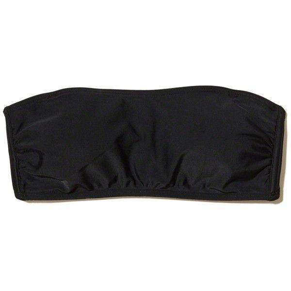 Hollister Multi-Way Bandeau Bikini Top ($8.09) ❤ liked on Polyvore featuring swimwear, bikinis, bikini tops, black, strappy bikini top, strappy swimwear, strappy bandeau bikini top, strappy halter bikini and halterneck bikinis