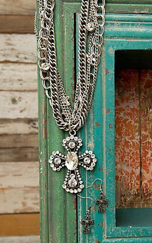 M Western Products Silver Crystal Cross Necklace and Earrings Jewelry Set