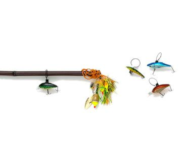 Fresh Catch  Fresh Catch  Select the thicker piece of a two-part bamboo fishing rod. Glue lures (snip off the barbs first) to ring clips. The finials? Orange poly stringer, floats, and more lures