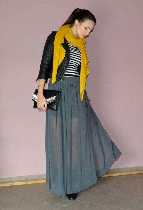 Mustard Scarf | Strip Top | Black Jacket | Grey Maxi Skirt