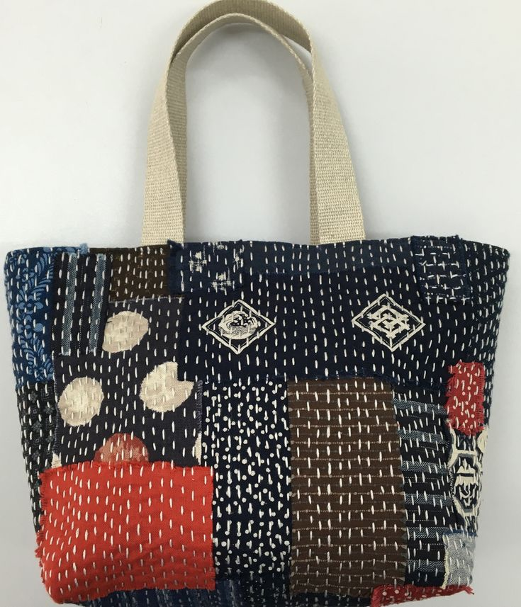 Boro inspired reversible grab bag. Made using 100% Japanese fabrics and Olympus Thread crochet cotton.