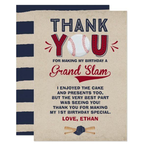 Baseball Thank You Card 1st Birthday