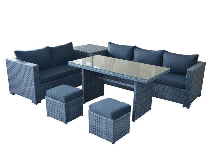 Salon de jardin en résine tressée 7 places composé d\'un canapé 3 ...