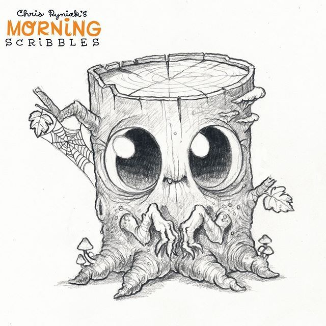 "Spooky stump!  Also, coincidentally spooky, @mabgraves #mabsdrawlloweenclub prompt for today was also ""creepy trees""  So spooky!  #morningscribbles #spookyscribbles"