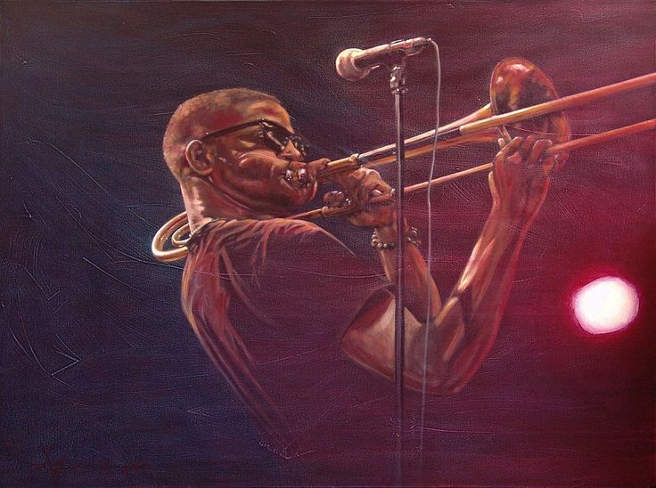 Jazz Art Paintings / Trombone Shorty / acrylics on canvas / 160x120 cm. / For Sale / Eur. 1050,-