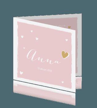Vierkant geboortekaartje meisje met ladder naar hart