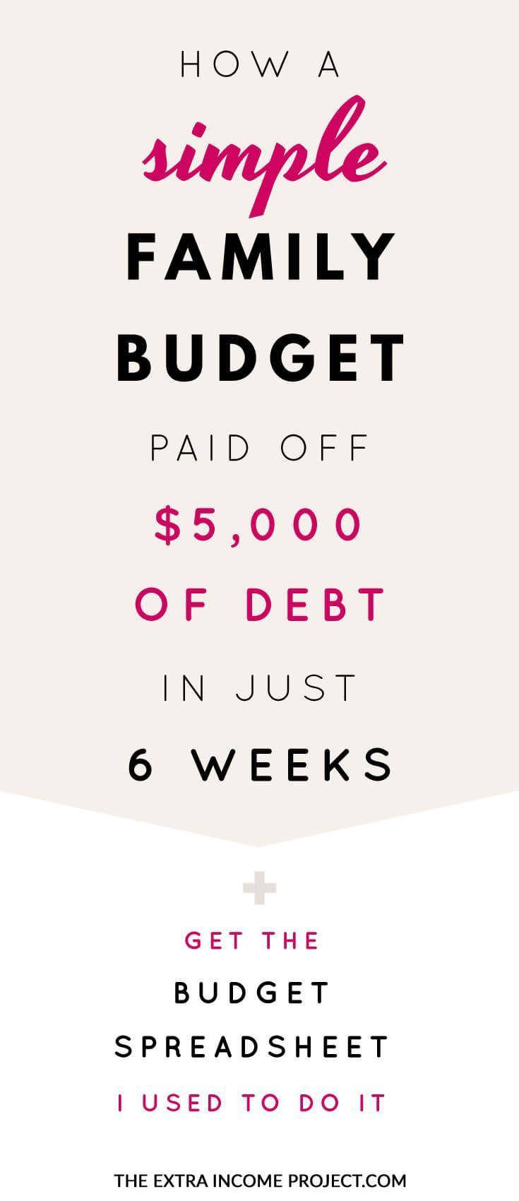 How a Simple Family Budget helped pay off $5000 of debt in just 6 weeks. If you're looking to pay off debt quickly these budgeting tips will help you start a budget and learn the power of a budget. Pay off credit card debt or pay off student loans fast!     Plus a BONUS - download the FREE budget planner template spreadsheet that helped me achieve my awesome goal to get your started.