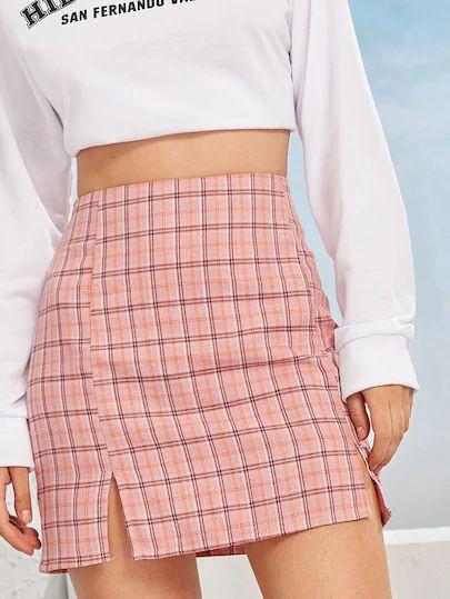 Random Plaid Side Slit Sheath Skirt – Back To School