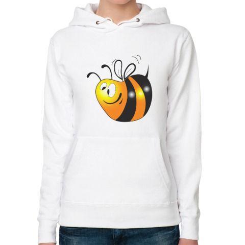 Женская толстовка худи Толстая пчелка - Простые картинки