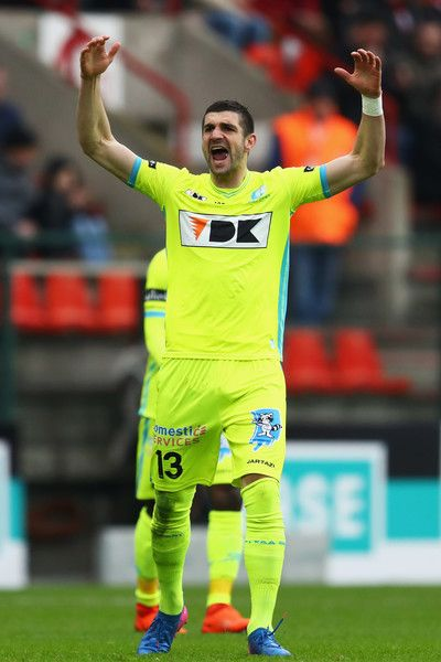 Stefan Mitrovic of K.A.A. Gent celebrates scoring his teams first goal of the game during the Belgian Jupiler Pro League match between Royal Standard de Liege and KAA Gent held at Stade Maurice Dufrasne on February 19, 2017 in Liege, Belgium.