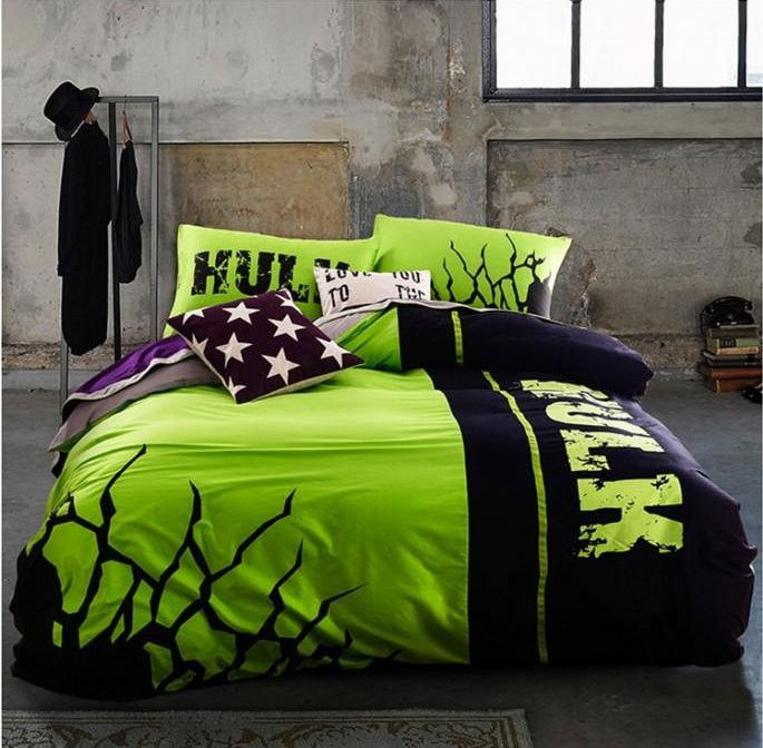 Noctilucent Glowing Incredible HULK Queen Size Duvet Cover Set