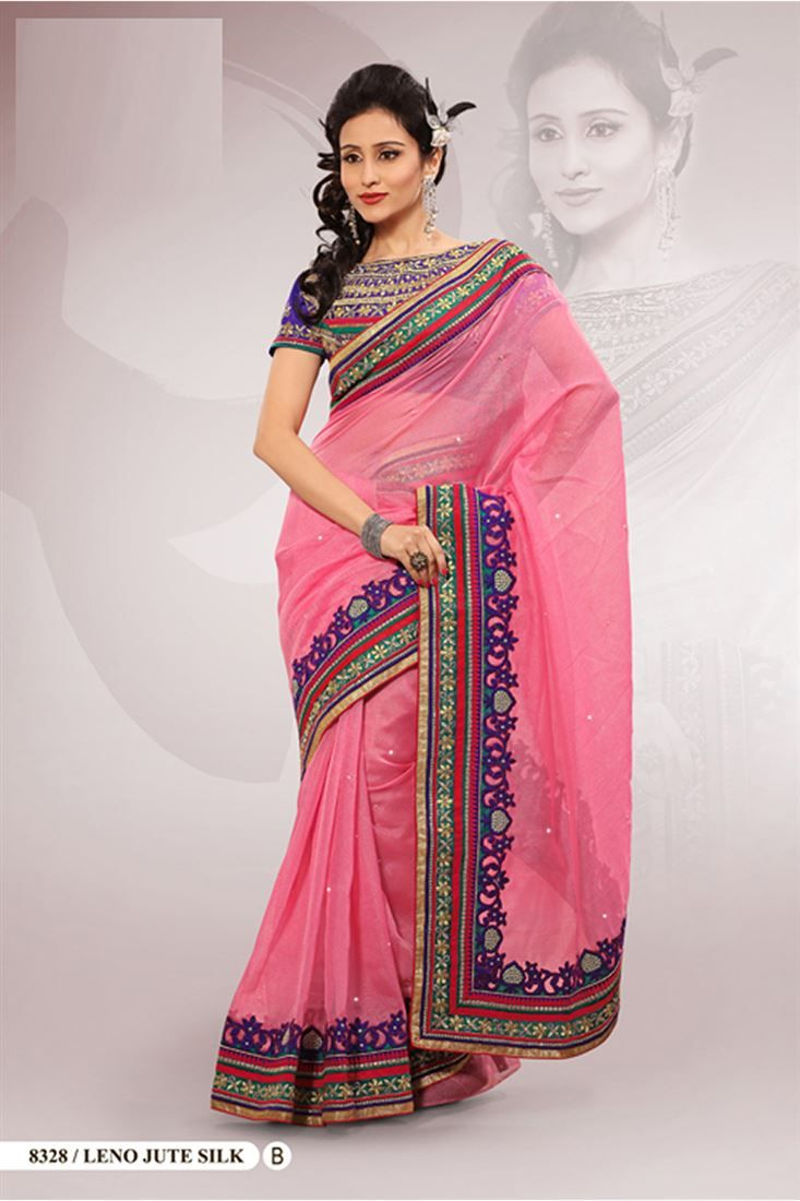 Pink Polyester Embroidered Saree With Blouse