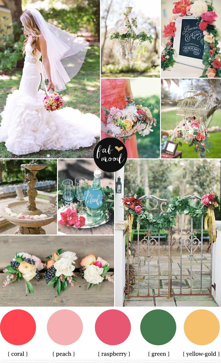 Garden Wedding Ideas: Coral and Raspberry Wedding Colours Palette,coral wedding palette,raspberry wedding color,Spring wedding colors ideas,coral wedding color