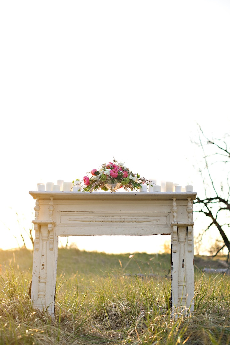 Vintage Mantel - White Dress Events, Summer Jean Photography