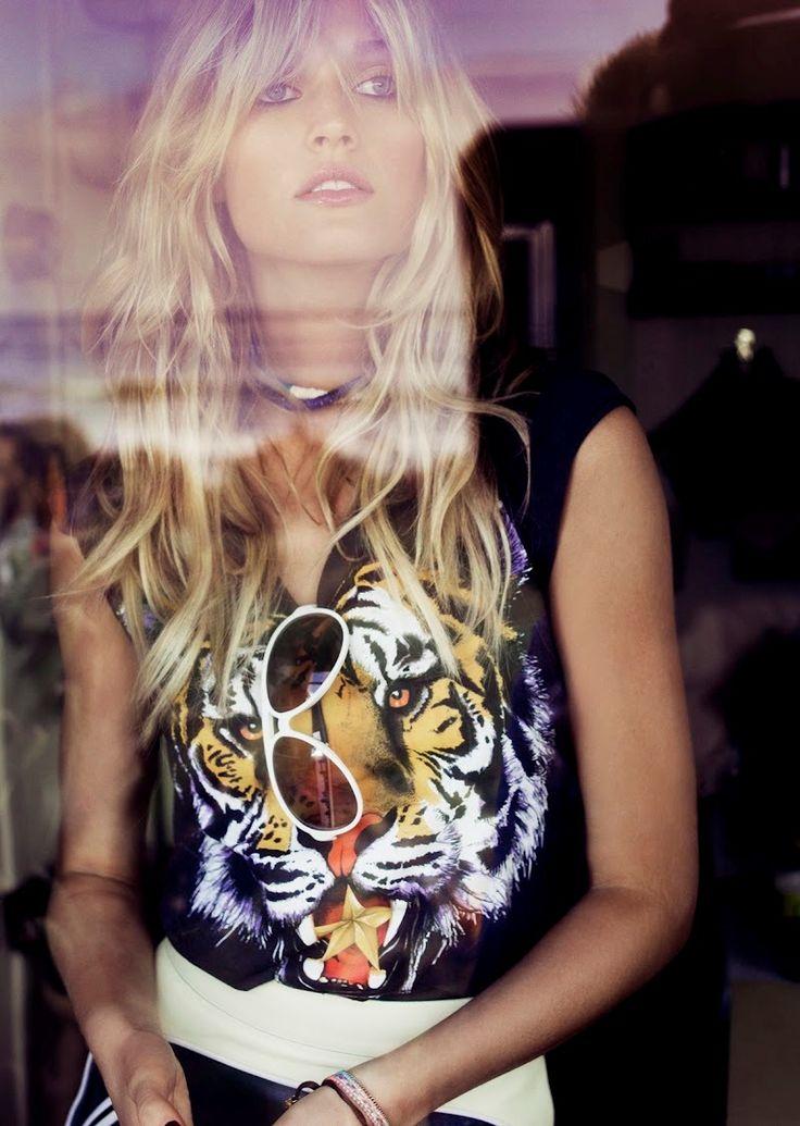 *toni garrn by tom munroTony Garrn, Fashion, Vogue Spain, Style, Tigers Shirts, Tom Munro, Animal Prints, Tony Garr, American Dreams