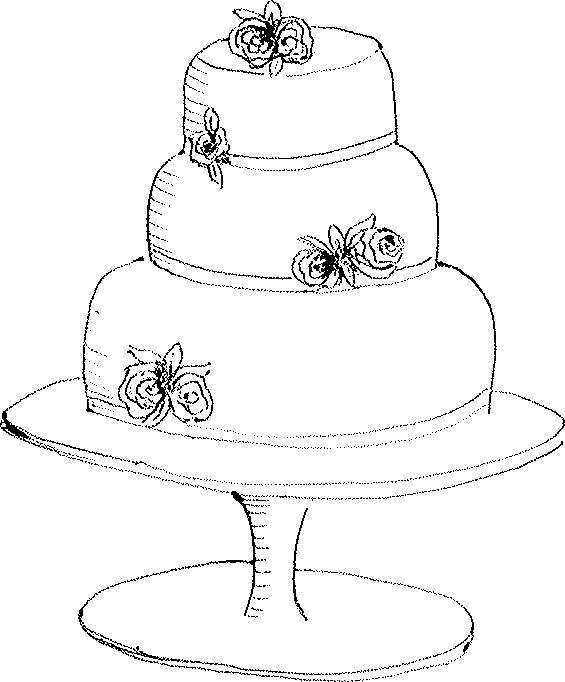 Black And White Drawing Of Cakes