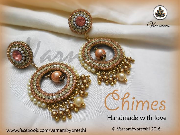 It started as a Chandbali idea but ended as a Chandlier earring :) I so wanted to do something in peach and I am happy I got to do this. Peach color has an elegance and a sophistication that makes you carry it off easily. Code name: Chimes Chandlier earrings with studs completely based on paper and finished with glass pearls.  Thanks Filigree Boutique and A1 Craft for the supplies. #handmadelove #varnambypreethi #chimes #chennai #accessories #earrings #jewelry #chandlier #peach #rhinestones