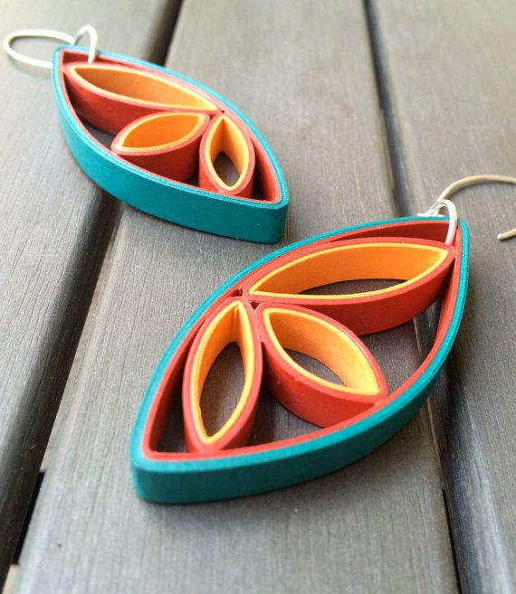 Modern Paper Earrings / Paper Anniversary Gift by RogueTheoryPULP