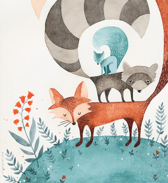 Friends of the Forest - 8x10 Animal watercolor by Eva Juliet.
