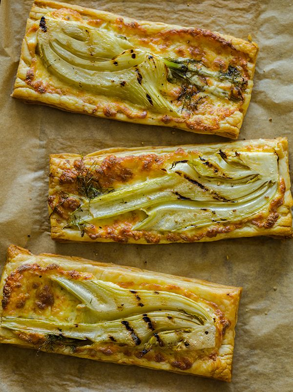 Grilled Fennel Tarts - I like to shave the fennel thin and broil on parchment paper (follow prep directions, oil, s, etc)
