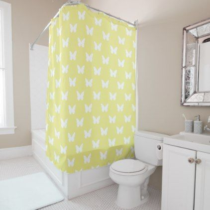 White Butterflies on Butter Yellow Shower Curtain - shabby unique diy customize