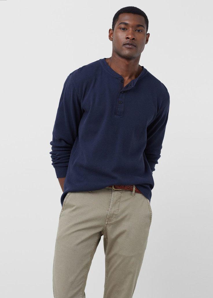 Хлопковая футболка с вырезом хенли | MANGO MAN