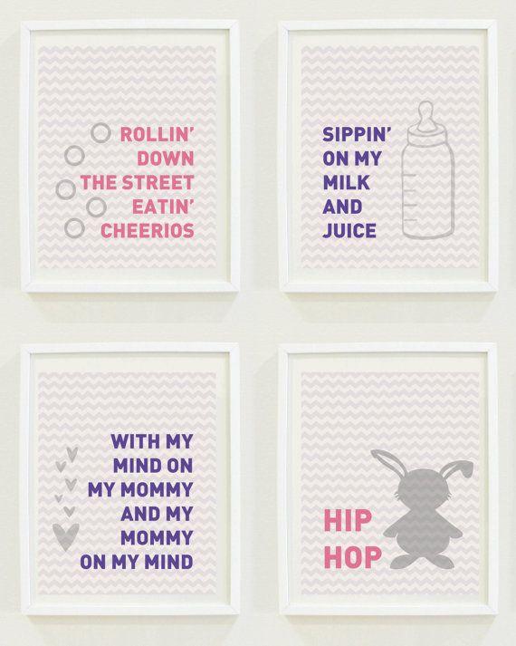 Hip Hop Baby Funny Nursery Prints - Milk and Juice Lyrics Wall Art - INSTANT DOWNLOAD Digital Nursery Prints for Girls