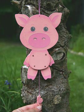 Kleines Hampelmann-Schweinchen selberbasteln - Anleitung via Makerist.de