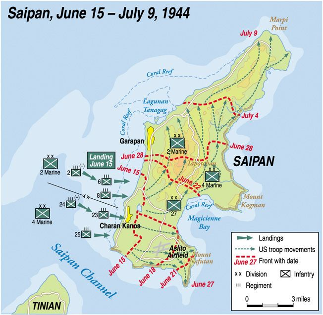 The 2nd and 4th Marine Division landed on the southwestern part of Saipan.